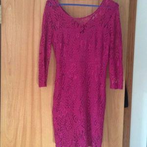 Gorgeous magenta lace dress